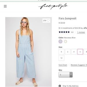free people NEW 2018 Summer Soft chambray jumpsuit